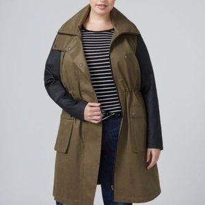 Lane Bryant Green Color Block Anorak Jacket